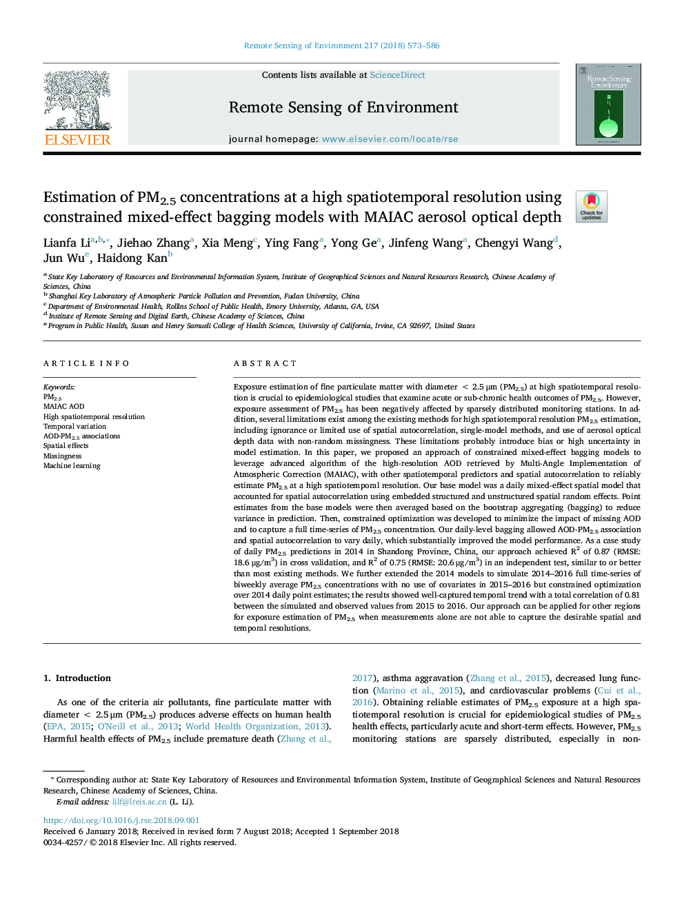 Estimation of PM2.5 concentrations at a high spatiotemporal resolution using constrained mixed-effect bagging models with MAIAC aerosol optical depth