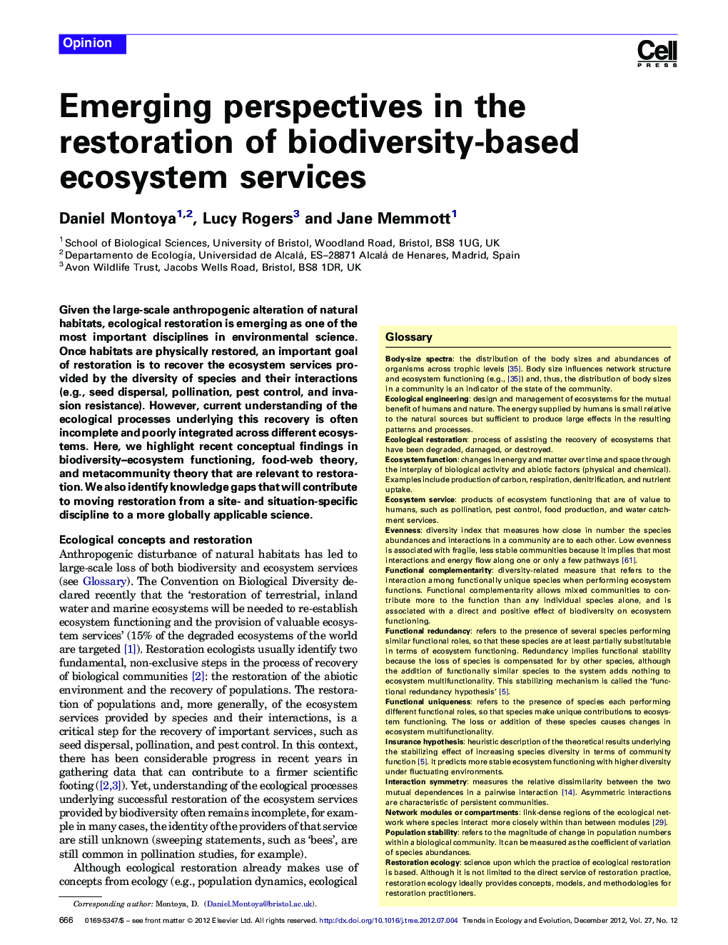 Emerging perspectives in the restoration of biodiversity-based ecosystem services