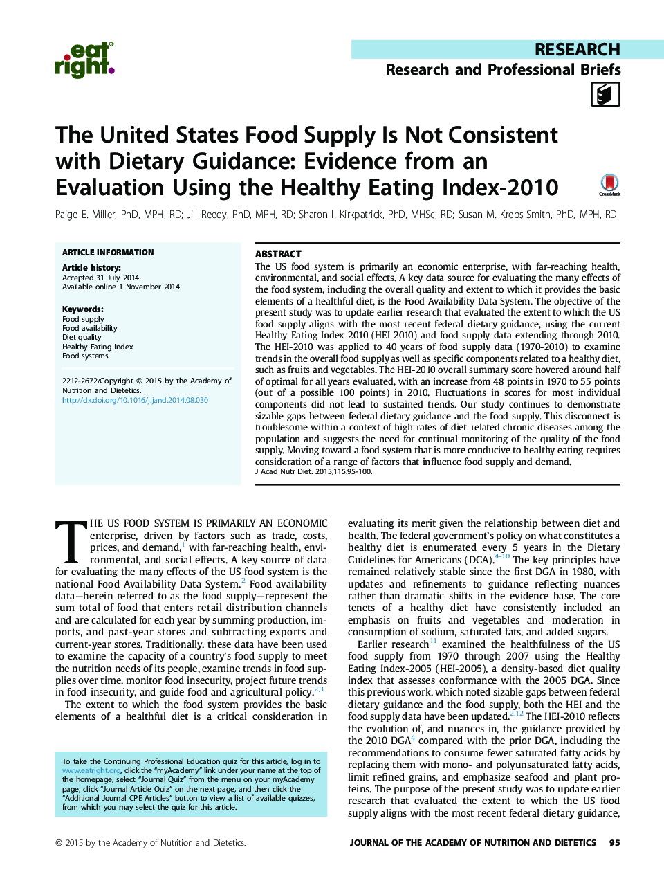 The United States Food Supply Is Not Consistent with Dietary