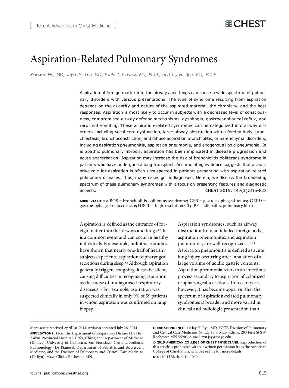 Aspiration-Related Pulmonary Syndromes