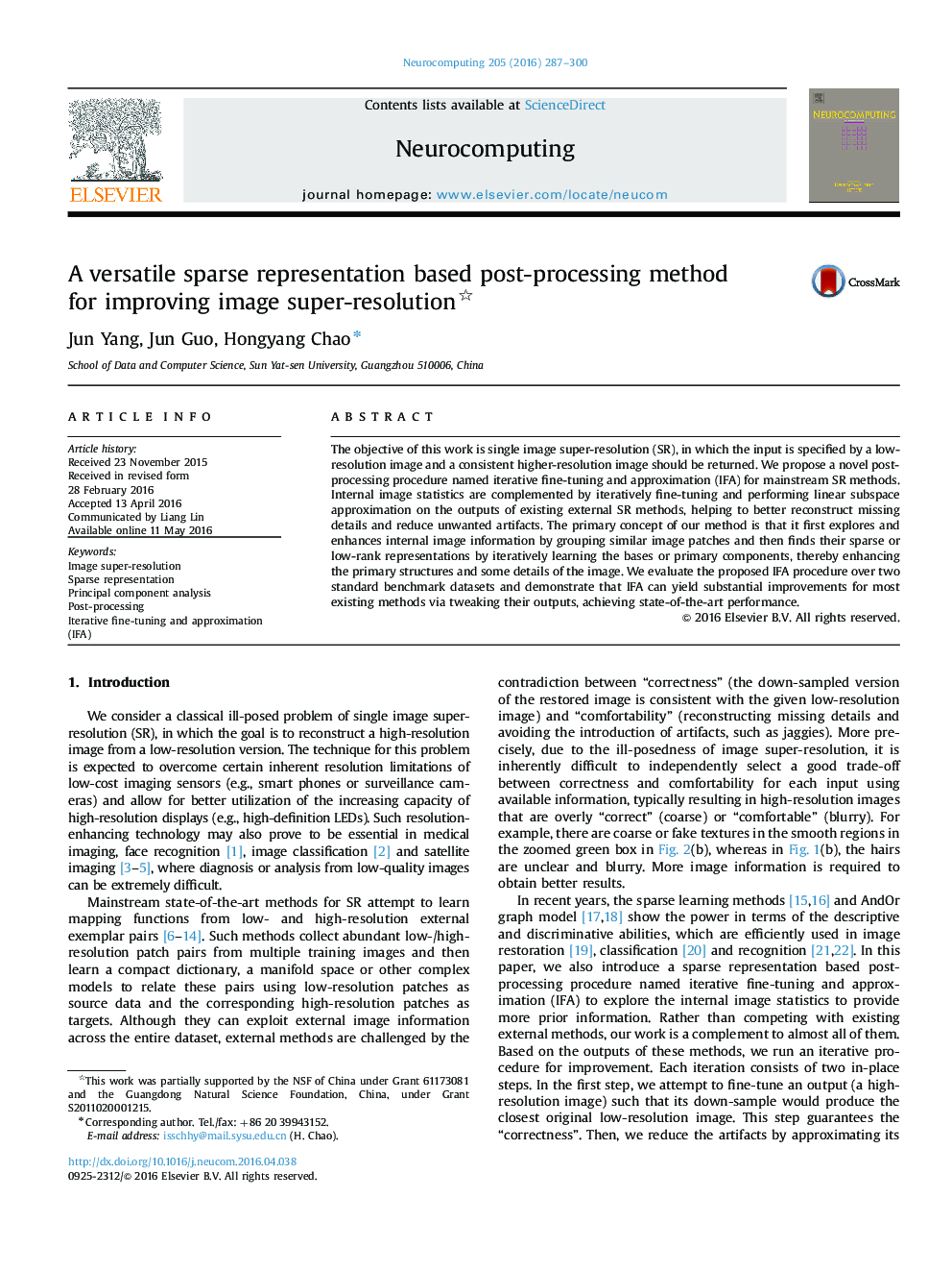A versatile sparse representation based post-processing method for