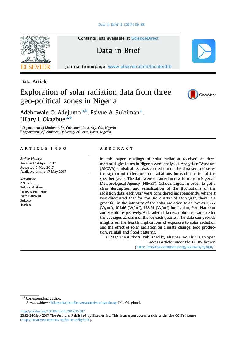 Exploration of solar radiation data from three geo-political zones in Nigeria