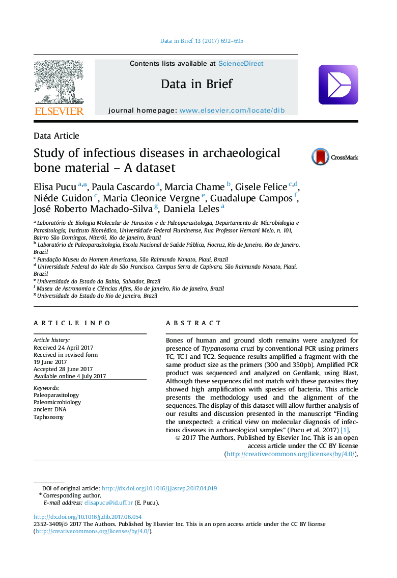 Study of infectious diseases in archaeological bone material - A dataset