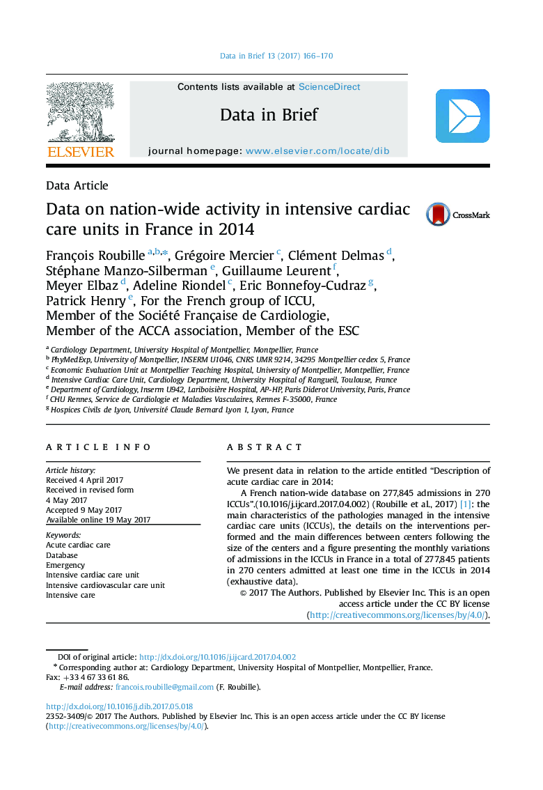 Data on nation-wide activity in intensive cardiac care units in France in 2014