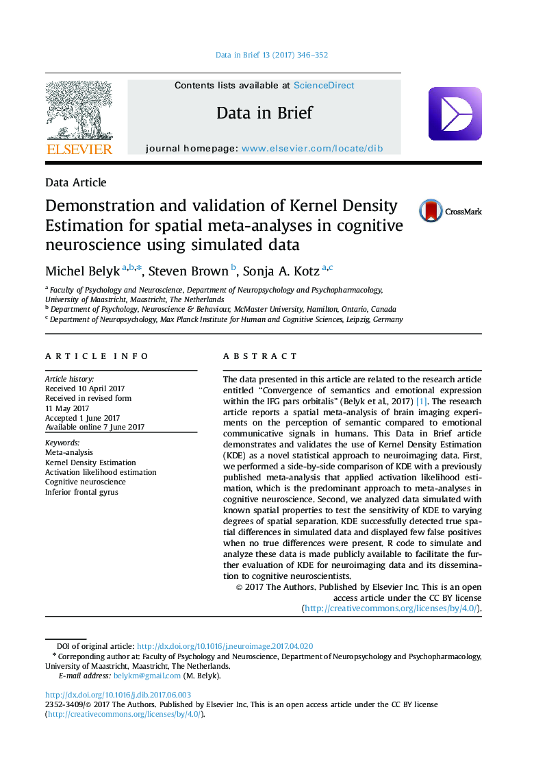 Data ArticleDemonstration and validation of Kernel Density Estimation for spatial meta-analyses in cognitive neuroscience using simulated data