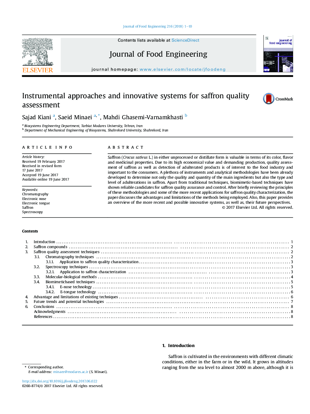 Instrumental approaches and innovative systems for saffron quality assessment
