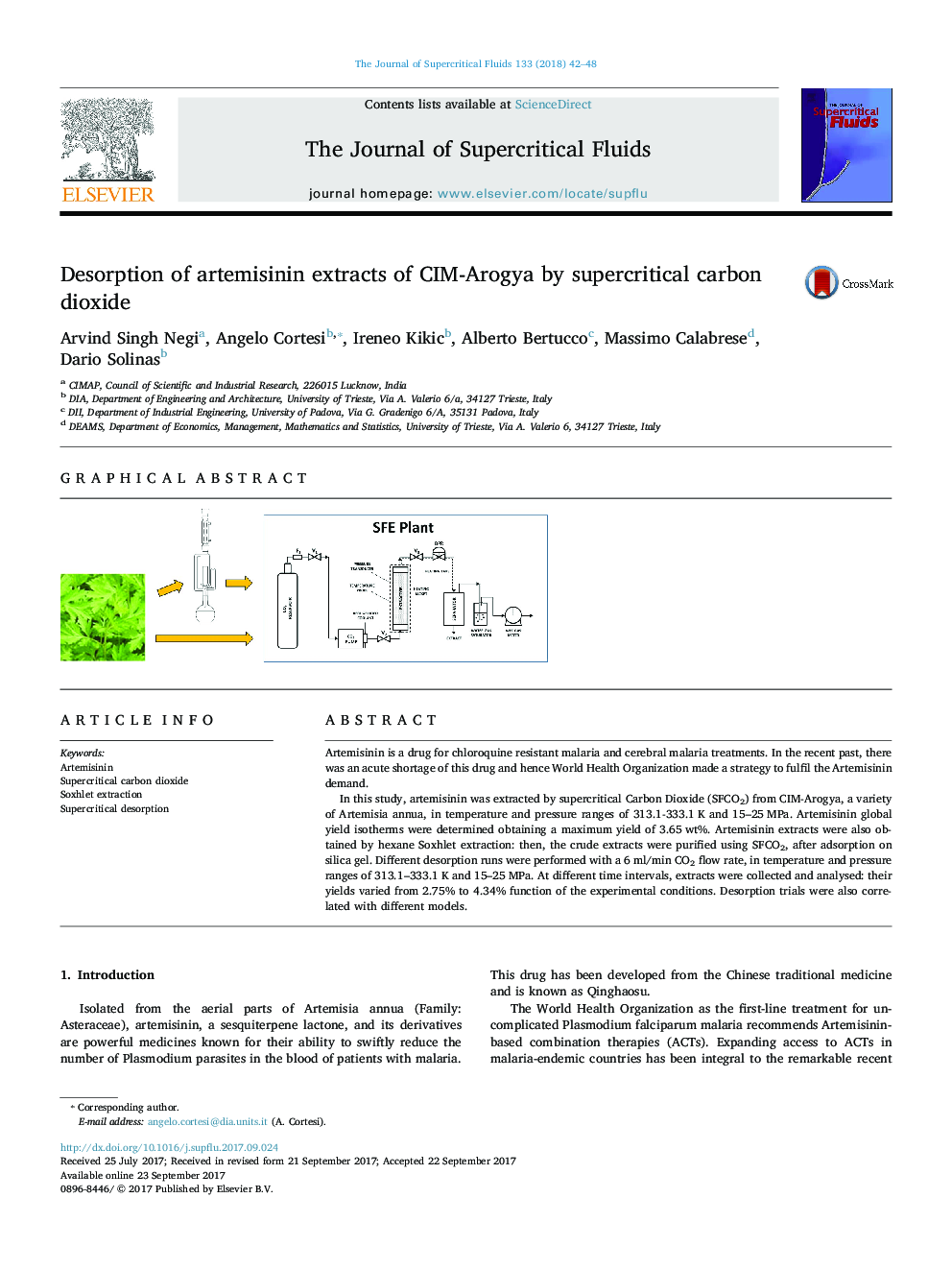 Desorption of artemisinin extracts of CIM-Arogya by supercritical carbon dioxide