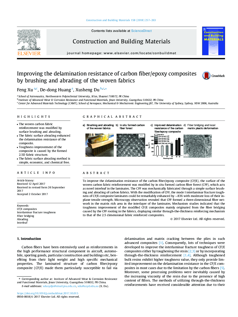 Improving the delamination resistance of carbon fiber/epoxy composites by brushing and abrading of the woven fabrics