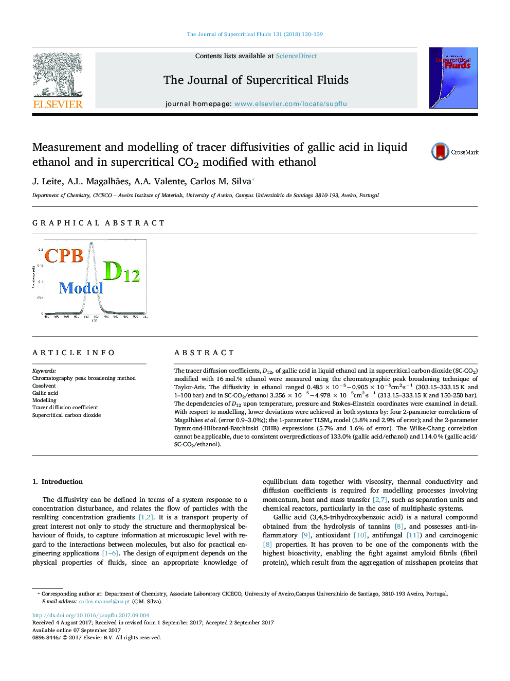 Measurement and modelling of tracer diffusivities of gallic acid in liquid ethanol and in supercritical CO2 modified with ethanol