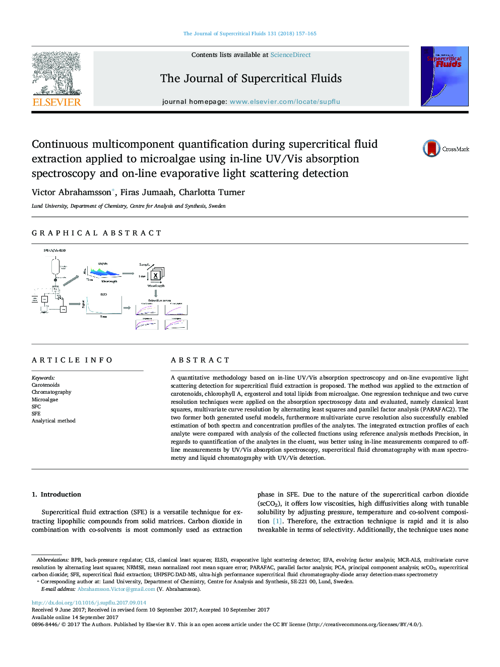 Continuous multicomponent quantification during supercritical fluid extraction applied to microalgae using in-line UV/Vis absorption spectroscopy and on-line evaporative light scattering detection