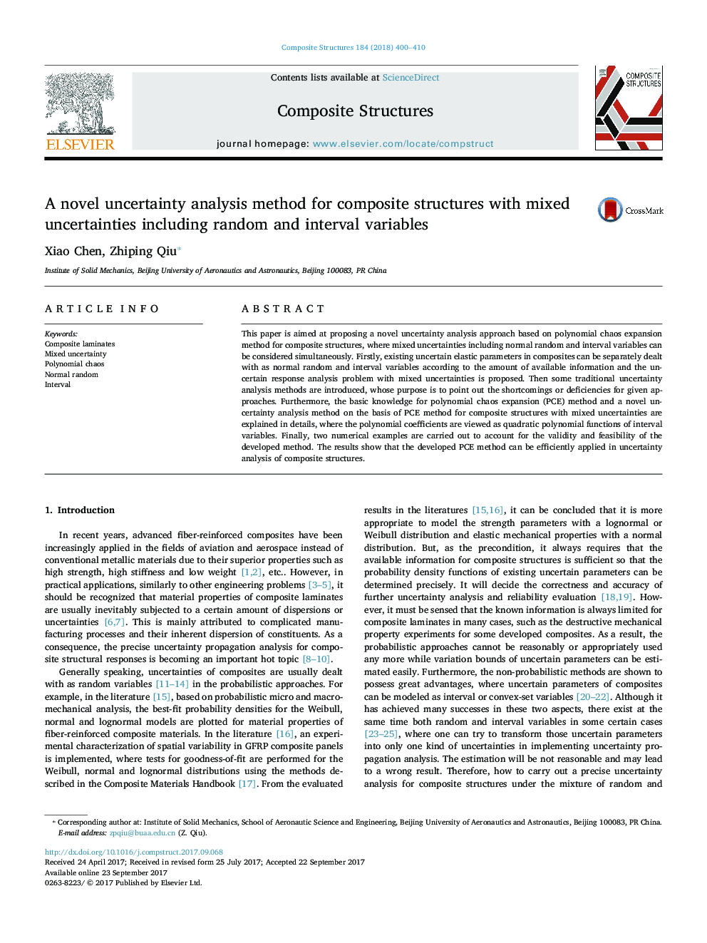A novel uncertainty analysis method for composite structures with mixed uncertainties including random and interval variables