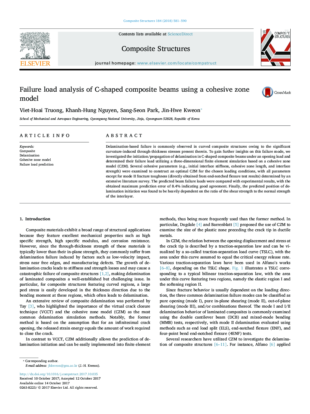 Failure load analysis of C-shaped composite beams using a cohesive zone model
