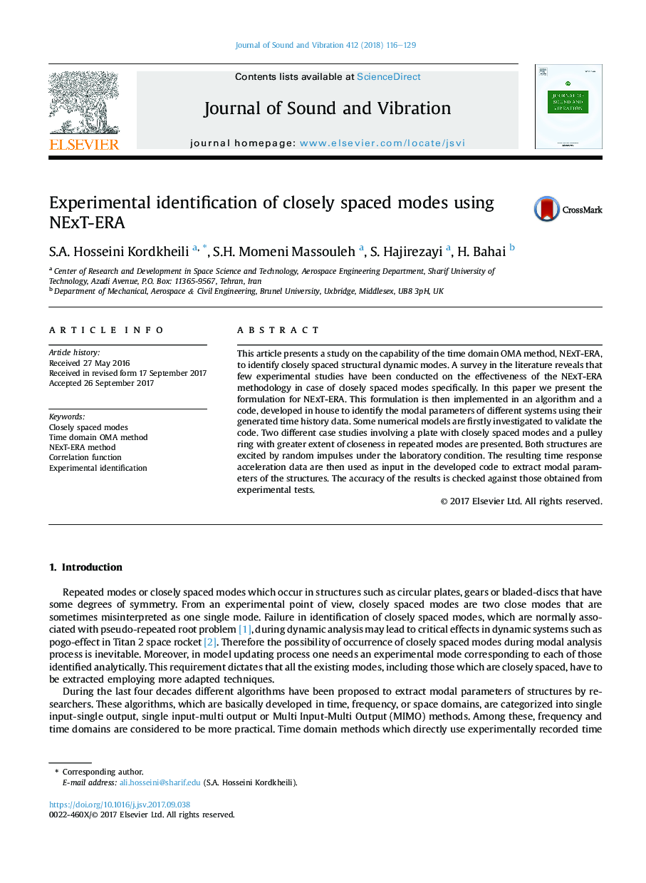 Experimental identification of closely spaced modes using NExT-ERA