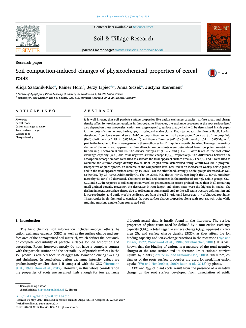 Research paperSoil compaction-induced changes of physicochemical properties of cereal roots