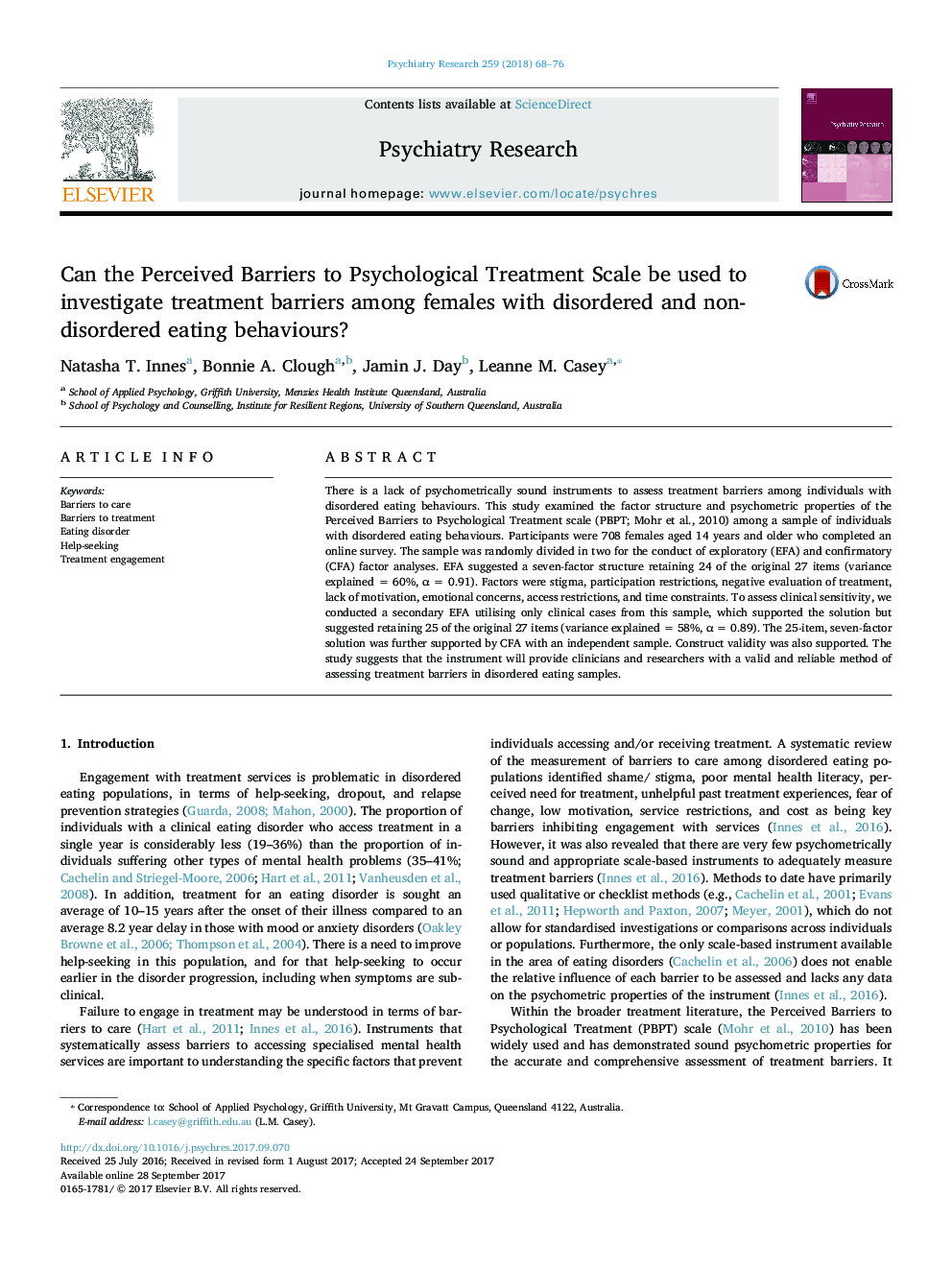 Can the Perceived Barriers to Psychological Treatment Scale be used to investigate treatment barriers among females with disordered and non-disordered eating behaviours?