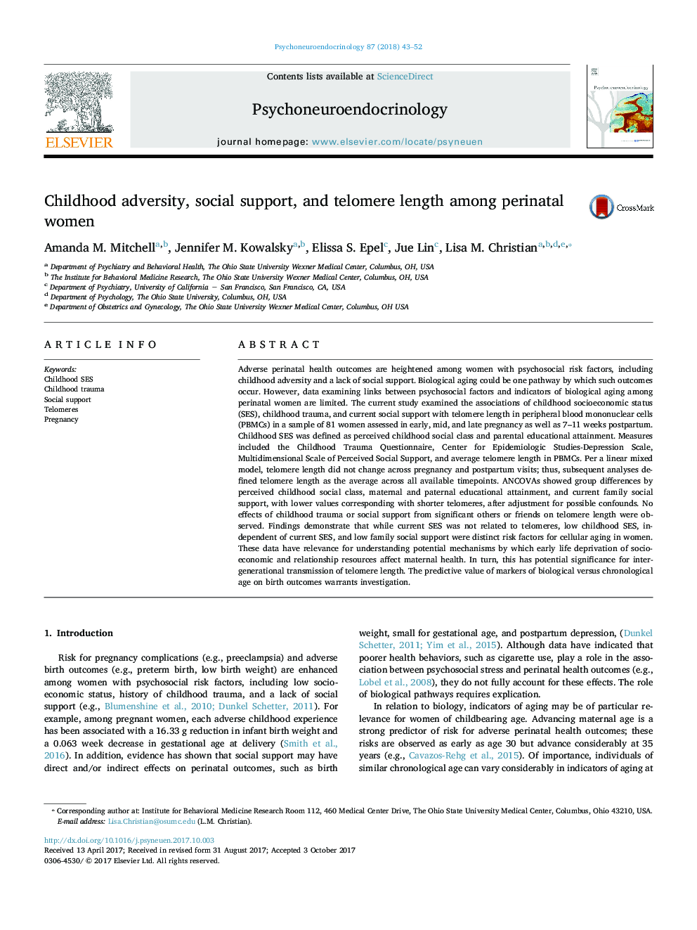 Childhood adversity, social support, and telomere length among perinatal women