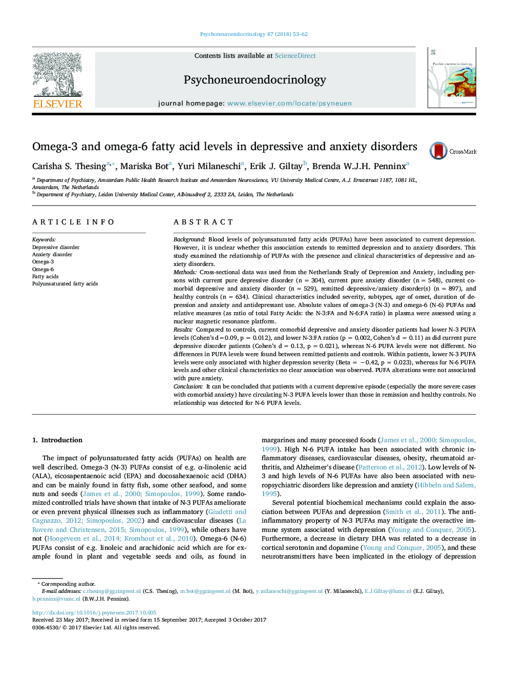 Omega-3 and omega-6 fatty acid levels in depressive and anxiety disorders