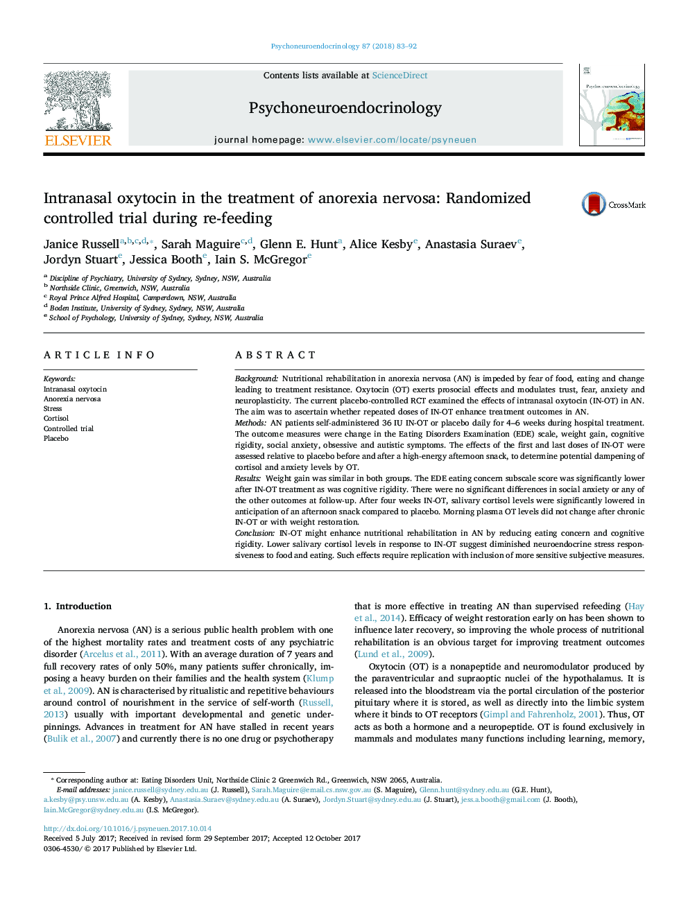 Intranasal oxytocin in the treatment of anorexia nervosa: Randomized controlled trial during re-feeding