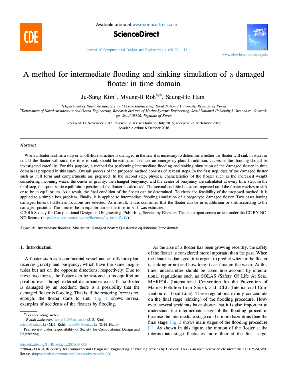 A method for intermediate flooding and sinking simulation of a damaged floater in time domain