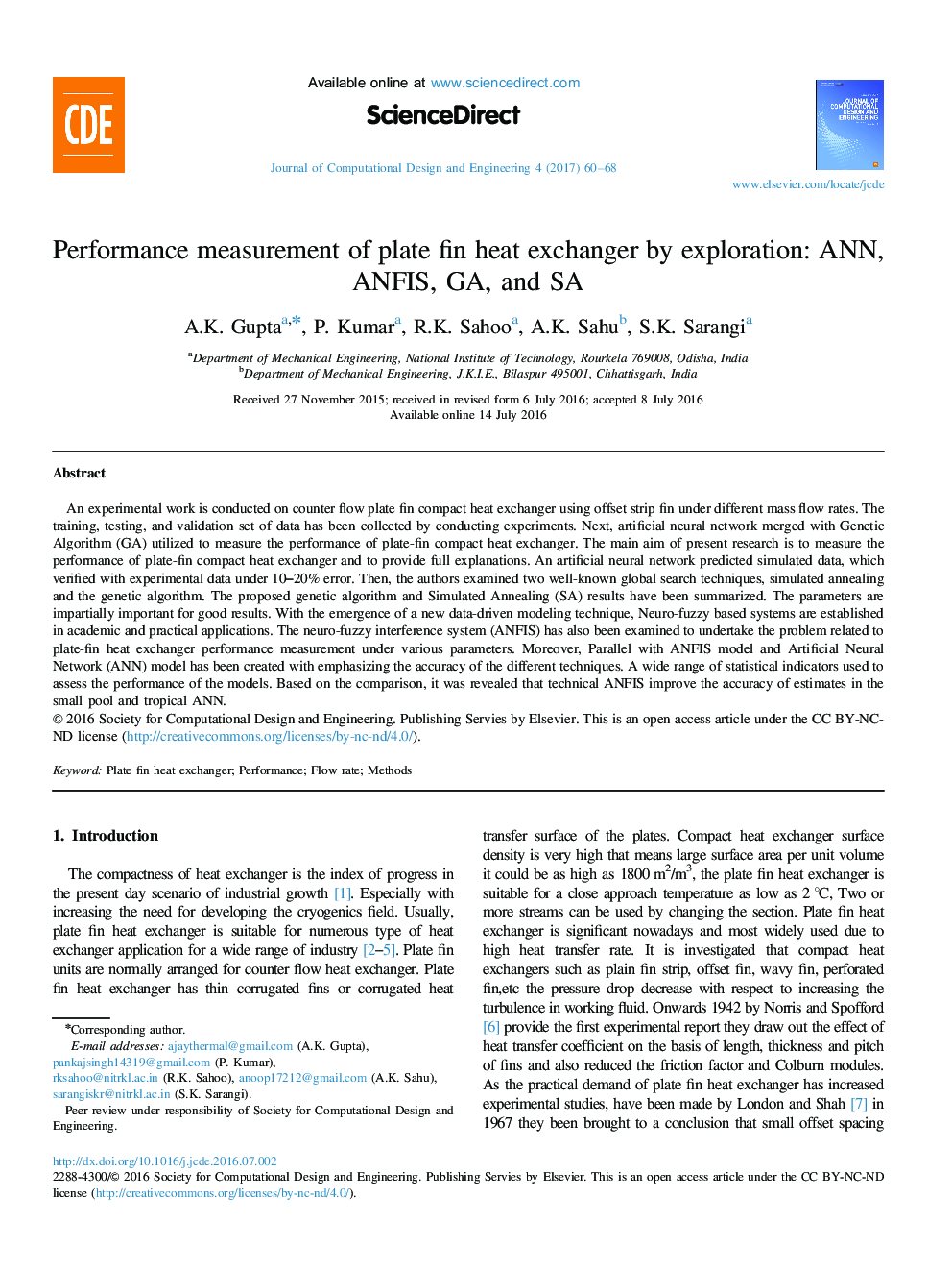 Performance measurement of plate fin heat exchanger by exploration: ANN, ANFIS, GA, and SA
