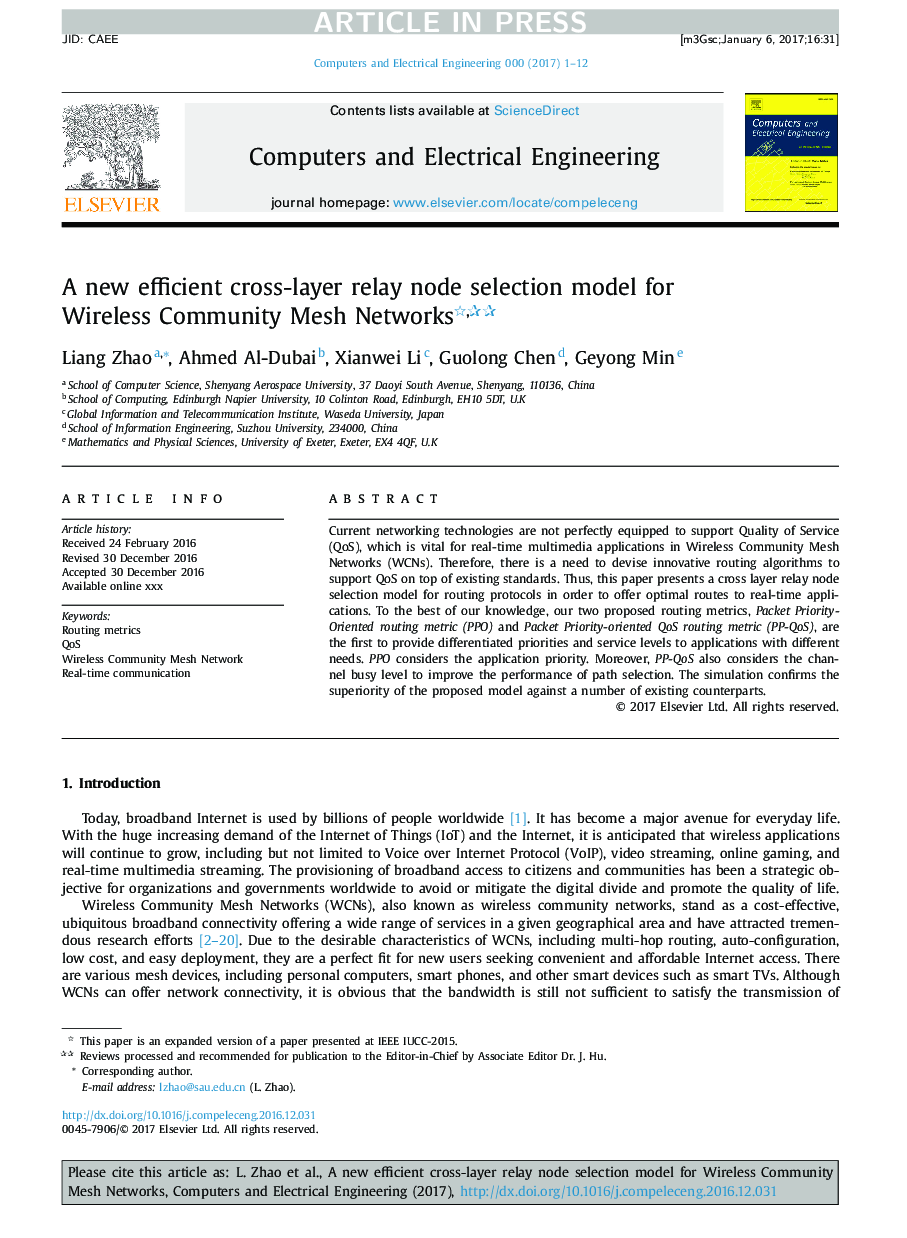 A new efficient cross-layer relay node selection model for Wireless Community Mesh Networks