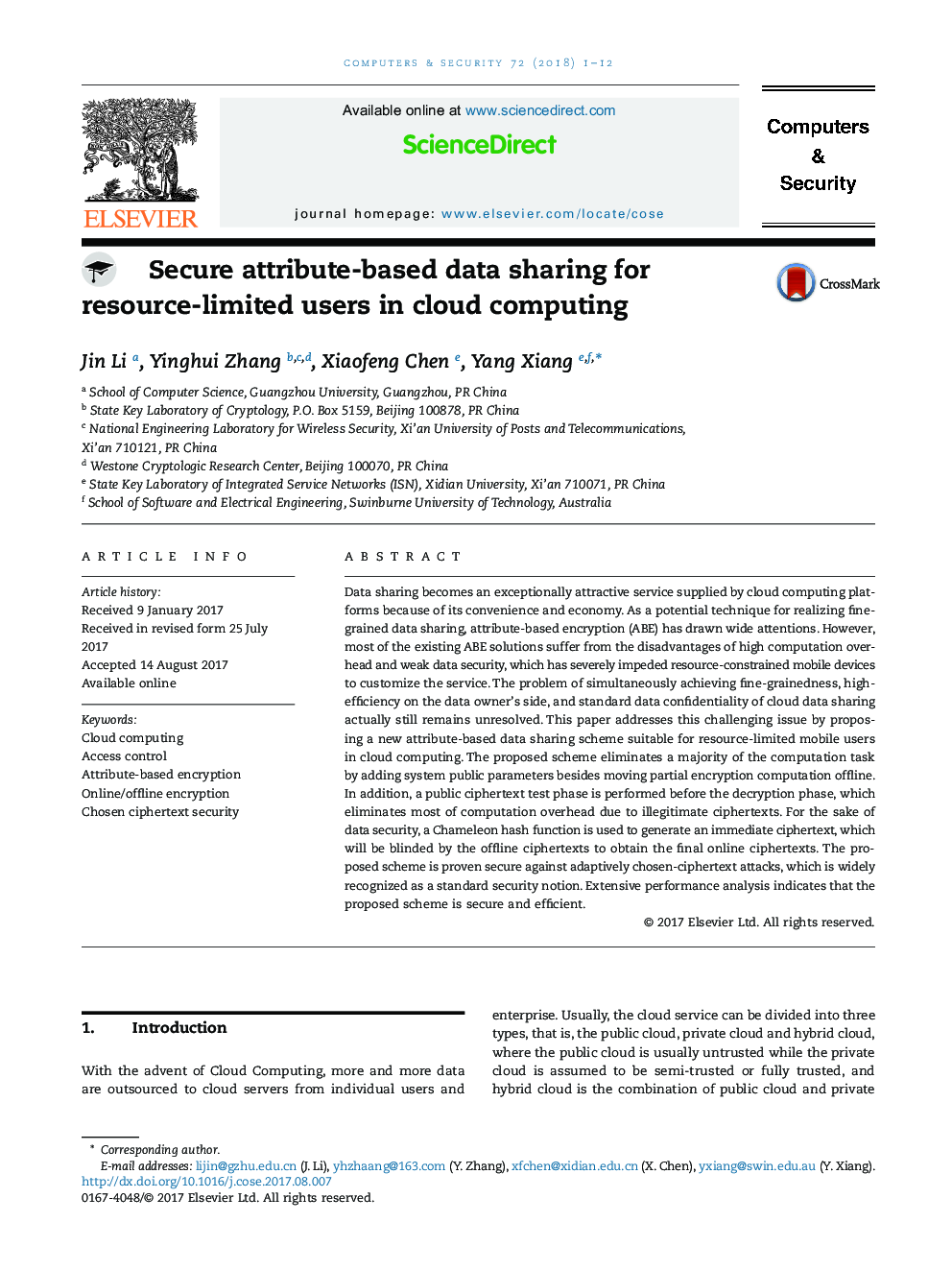 Secure attribute-based data sharing for resource-limited users in cloud computing