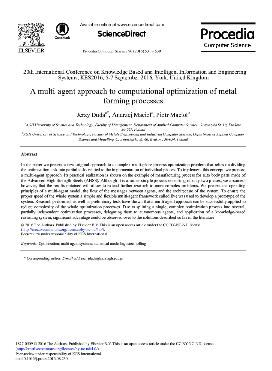 A Multi-agent Approach to Computational Optimization of Metal Forming Processes