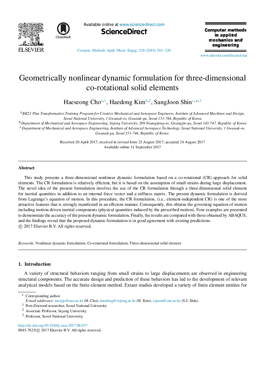 Geometrically nonlinear dynamic formulation for three-dimensional co-rotational solid elements