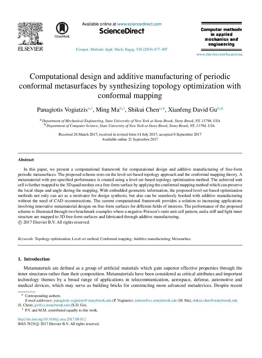 Computational design and additive manufacturing of periodic conformal metasurfaces by synthesizing topology optimization with conformal mapping