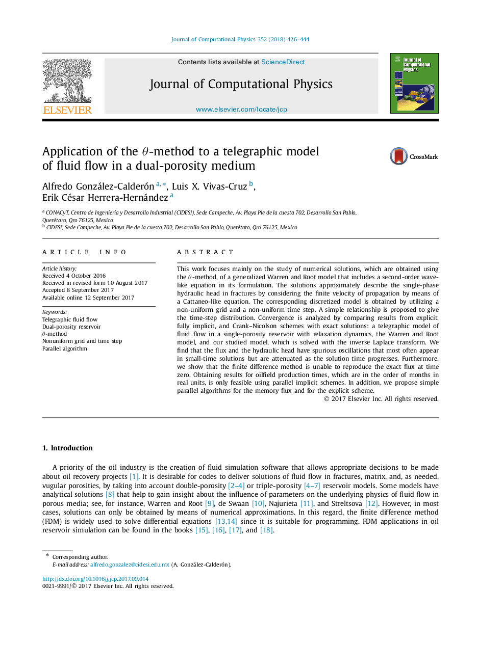 Application of the θ-method to a telegraphic model of fluid flow in a dual-porosity medium