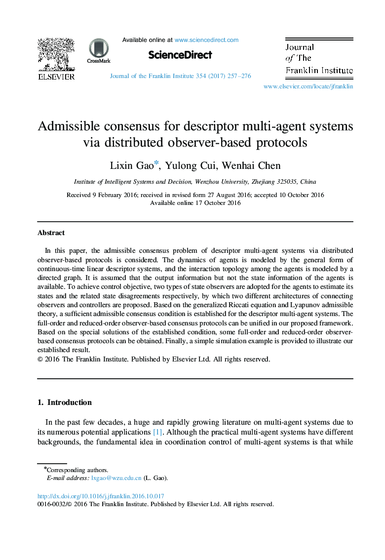 Admissible consensus for descriptor multi-agent systems via distributed observer-based protocols