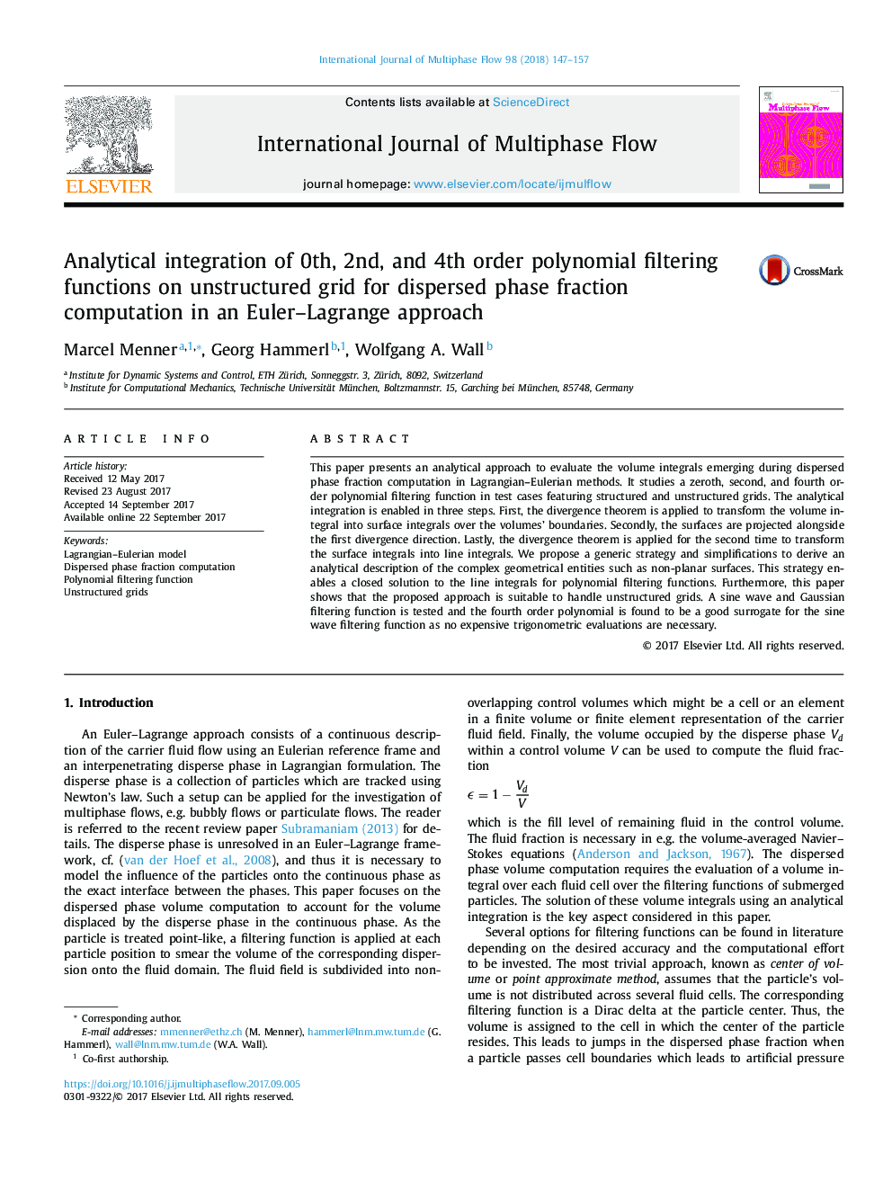 Analytical integration of 0th, 2nd, and 4th order polynomial filtering functions on unstructured grid for dispersed phase fraction computation in an Euler–Lagrange approach