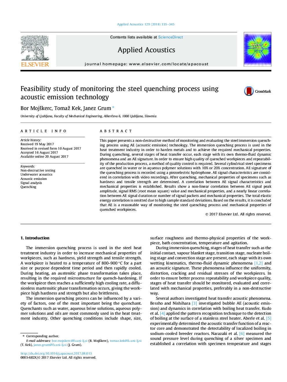 Feasibility study of monitoring the steel quenching process using acoustic emission technology