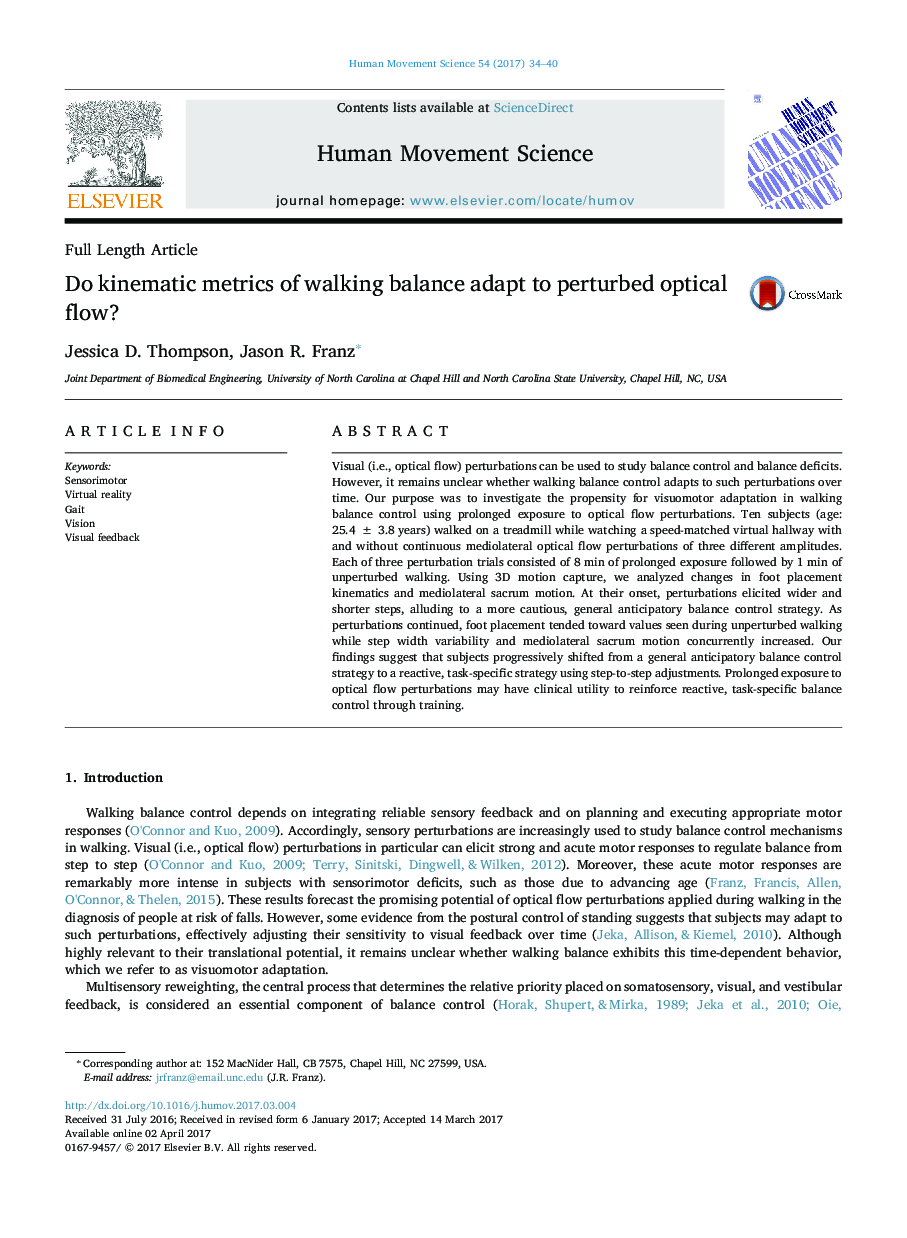 Do kinematic metrics of walking balance adapt to perturbed optical flow?