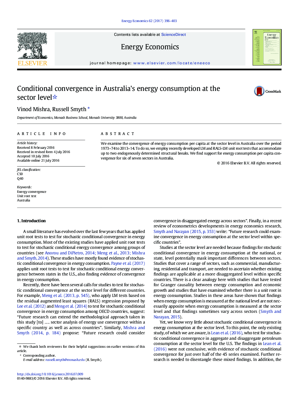 Conditional convergence in Australia's energy consumption at the sector level