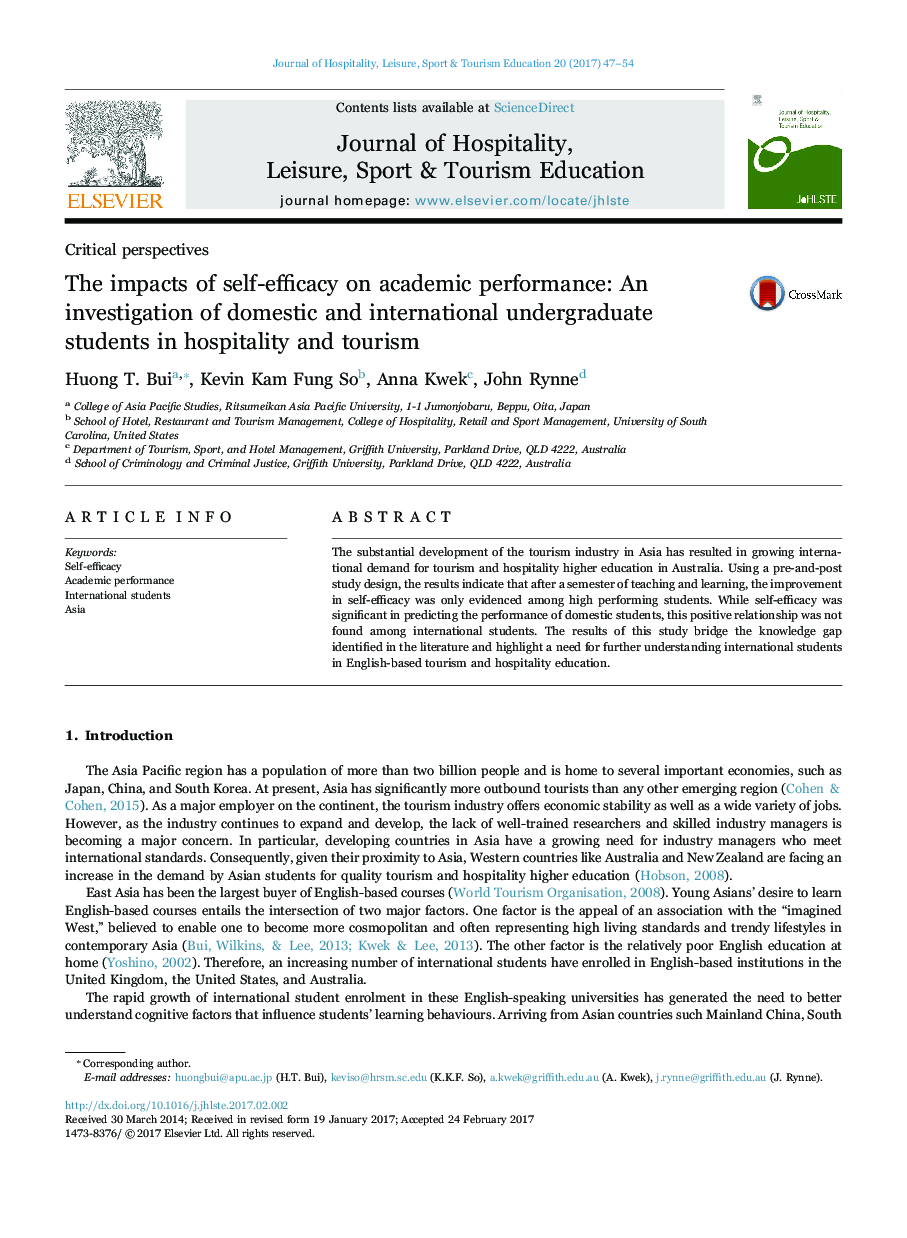 The impacts of self-efficacy on academic performance: An investigation of domestic and international undergraduate students in hospitality and tourism