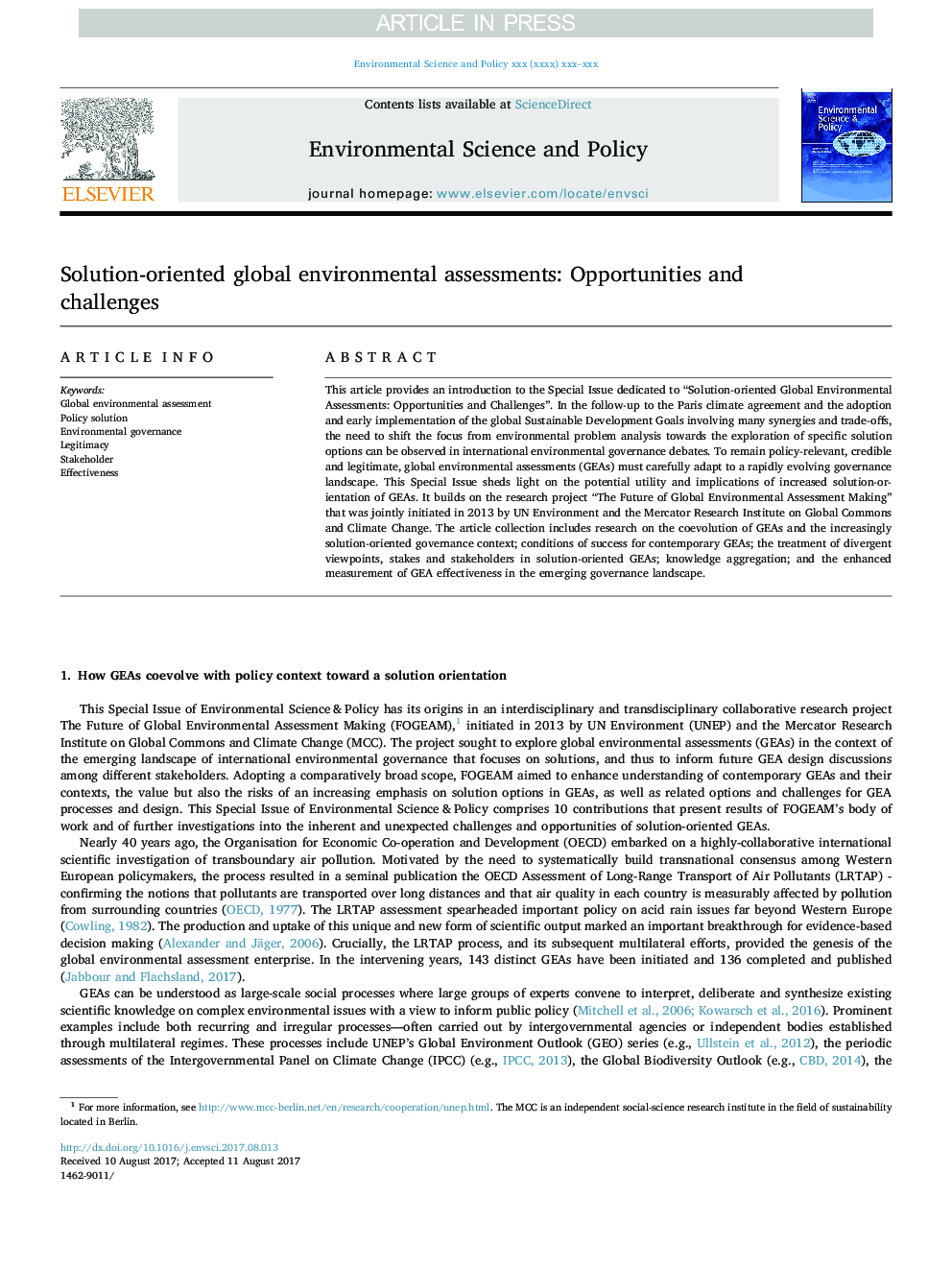 Solution-oriented global environmental assessments: Opportunities and challenges