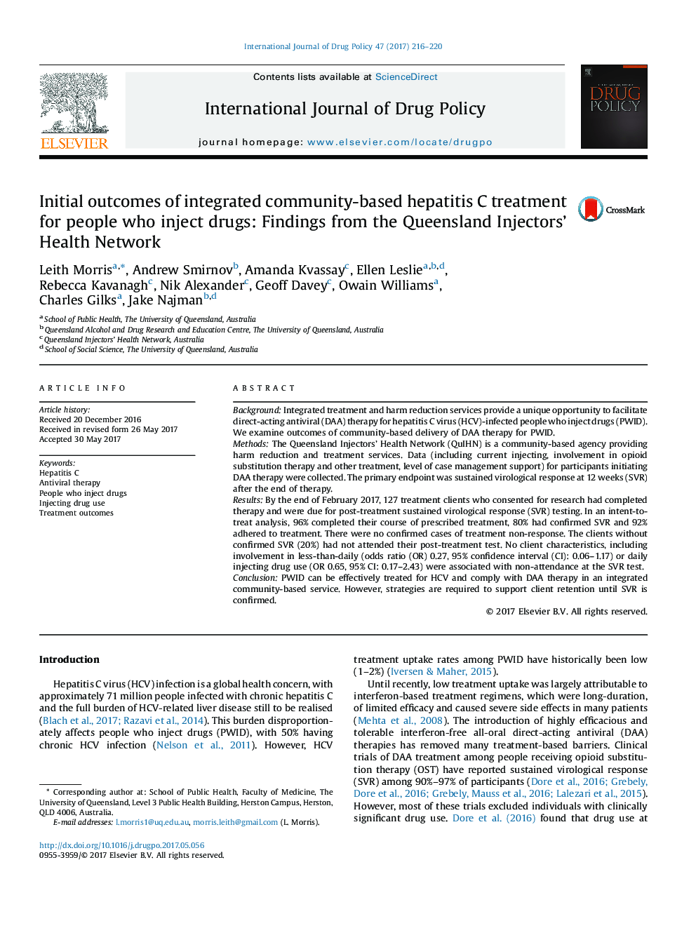 Initial outcomes of integrated community-based hepatitis C treatment for people who inject drugs: Findings from the Queensland Injectors' Health Network