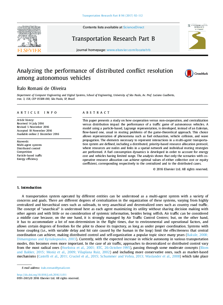 Analyzing the performance of distributed conflict resolution among autonomous vehicles
