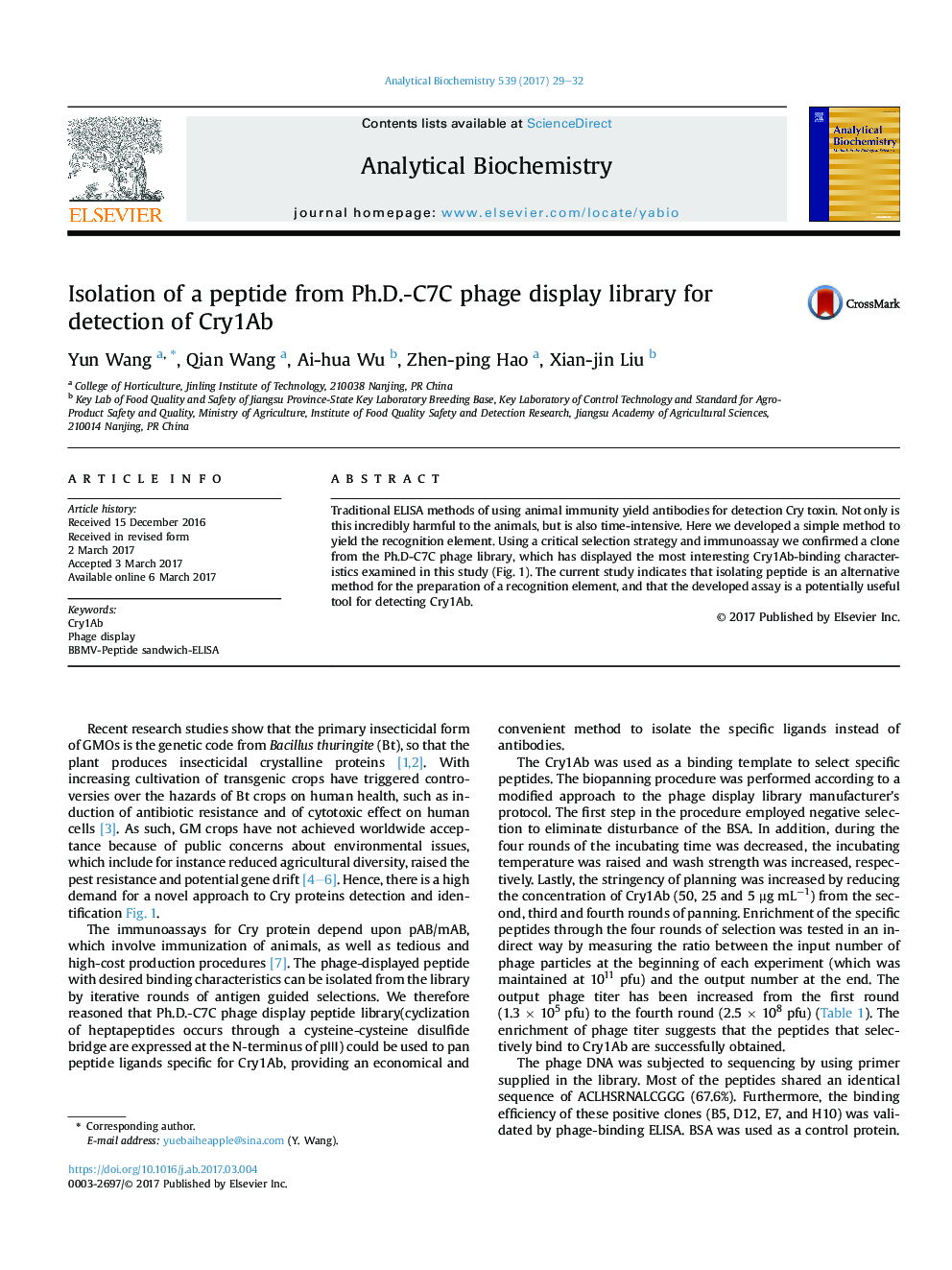 Isolation of a peptide from Ph.D.-C7C phage display library for detection of Cry1Ab