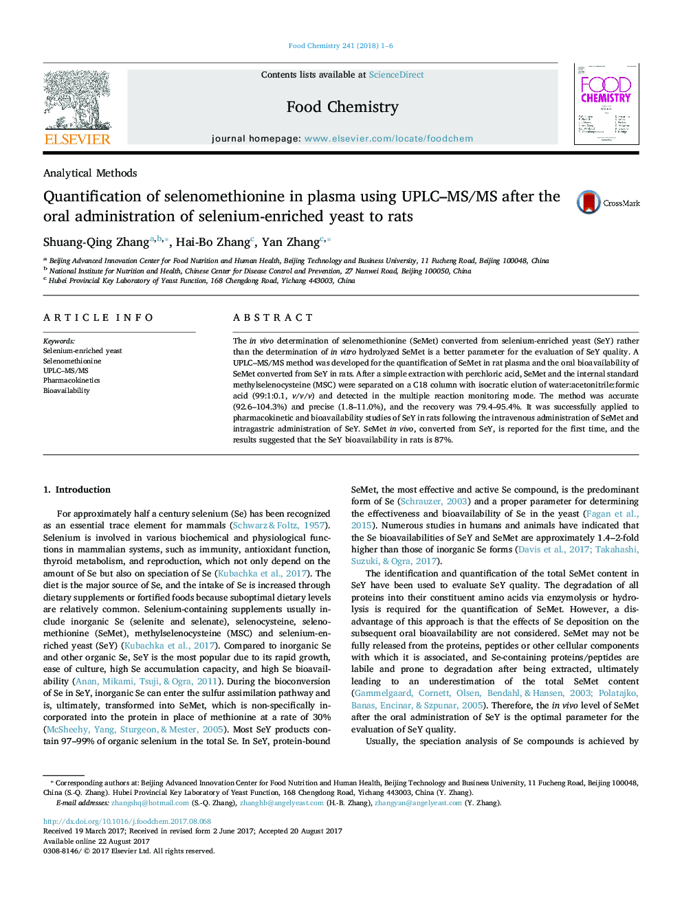 Quantification of selenomethionine in plasma using UPLC-MS/MS after the oral administration of selenium-enriched yeast to rats