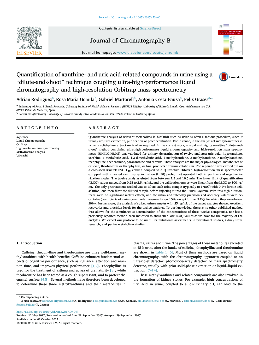 "Quantification of xanthine- and uric acid-related compounds in urine using a ""dilute-and-shoot"" technique coupling ultra-high-performance liquid chromatography and high-resolution Orbitrap mass spectrometry"
