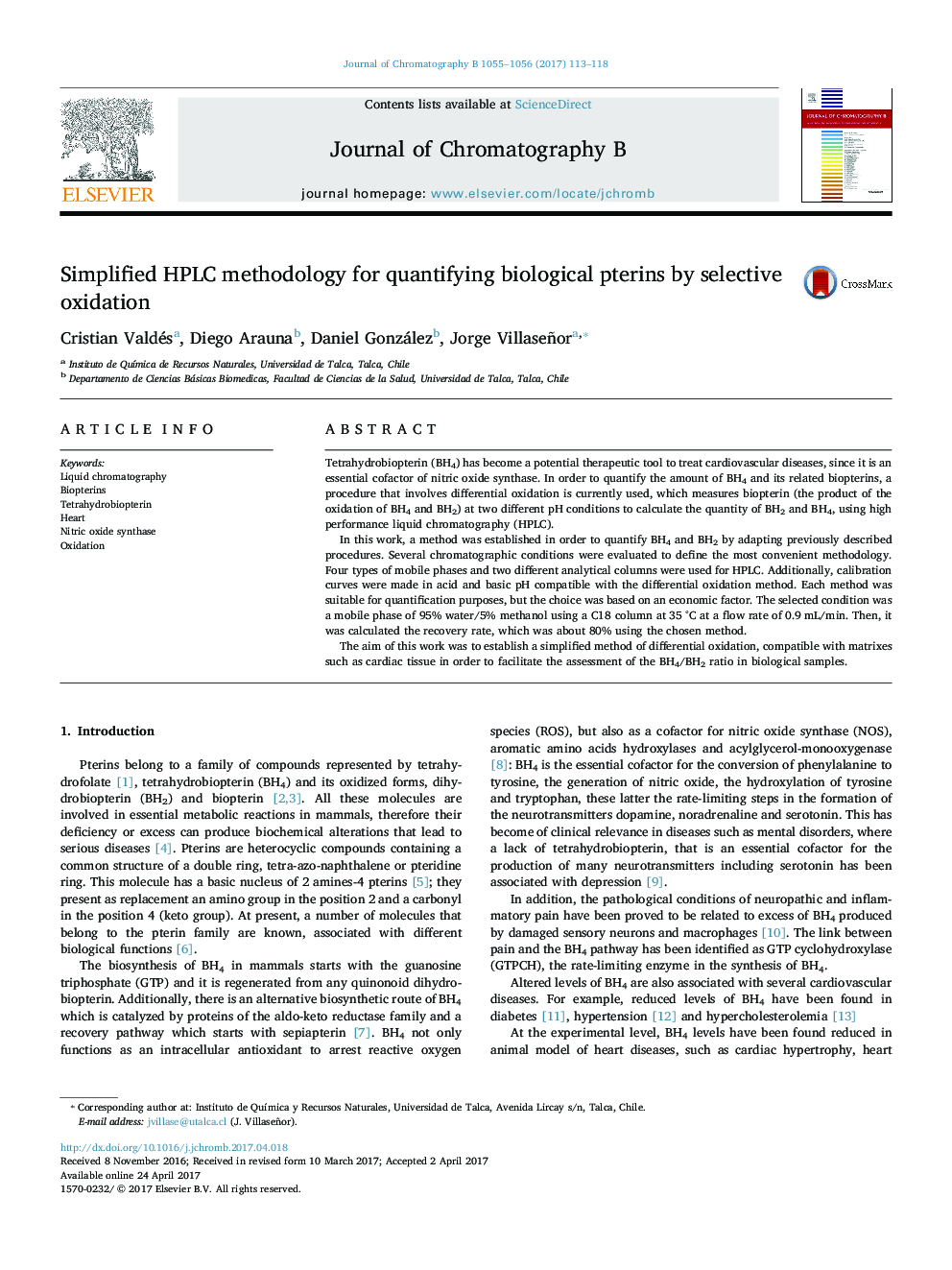 Simplified HPLC methodology for quantifying biological pterins by selective oxidation