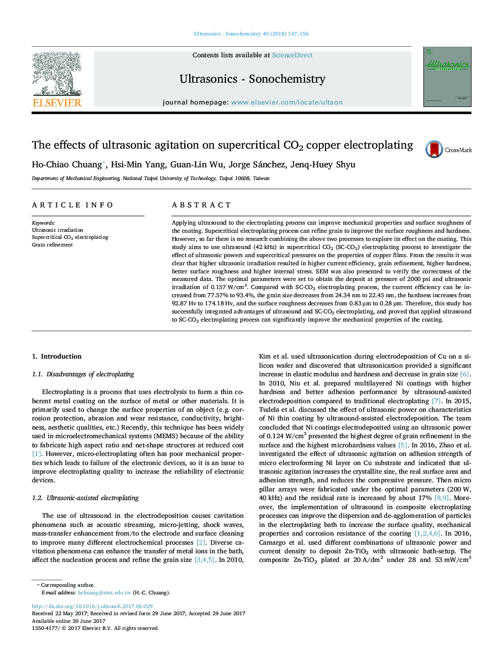 The effects of ultrasonic agitation on supercritical CO2 copper electroplating