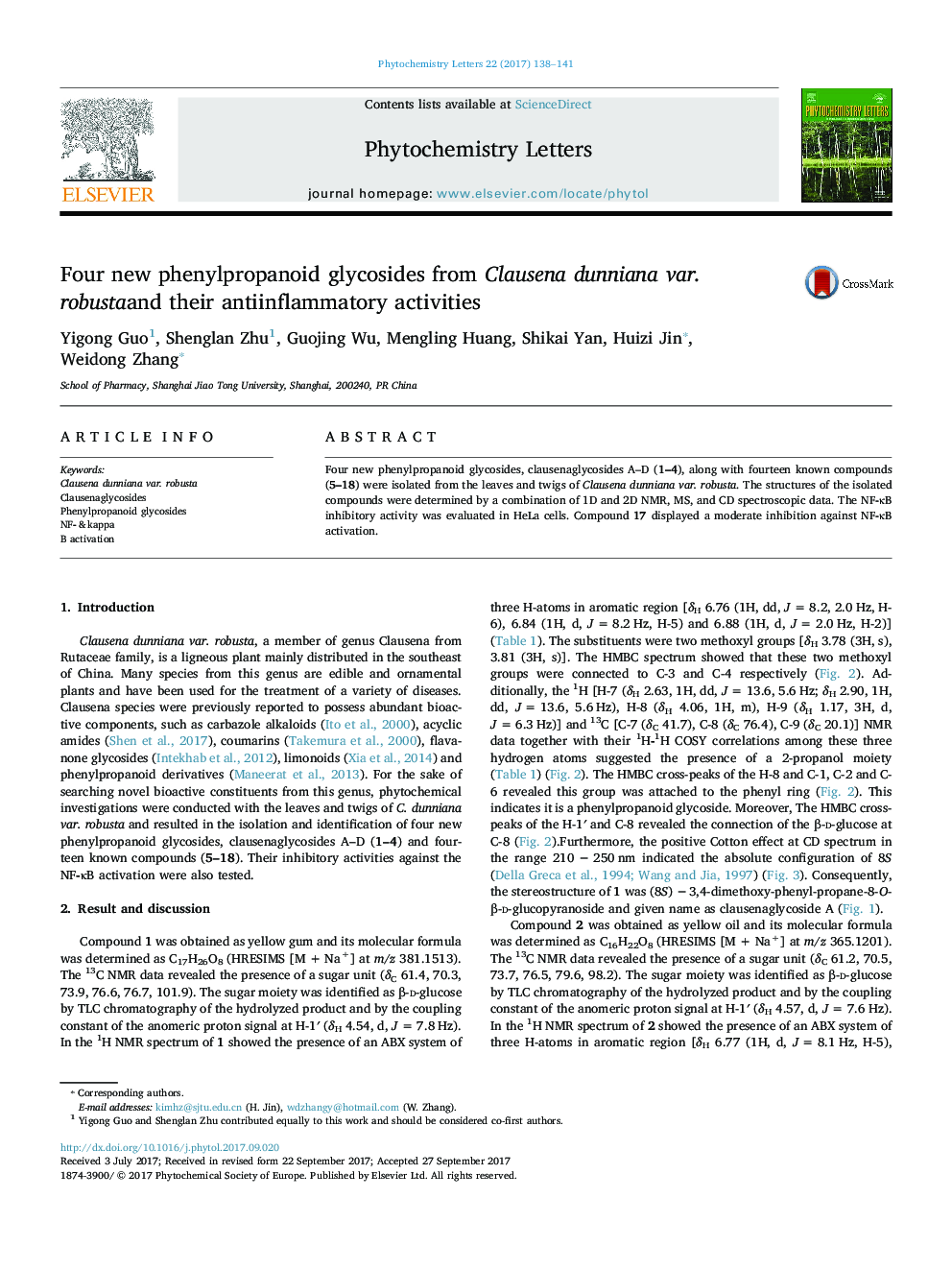 Four new phenylpropanoid glycosides from Clausena dunniana var. robustaand their antiinflammatory activities