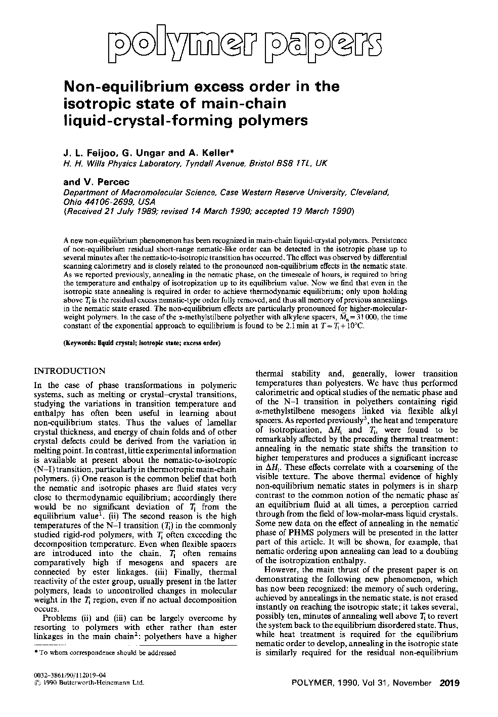 Non-equilibrium excess order in the isotropic state of main-chain liquid-crystal-forming polymers