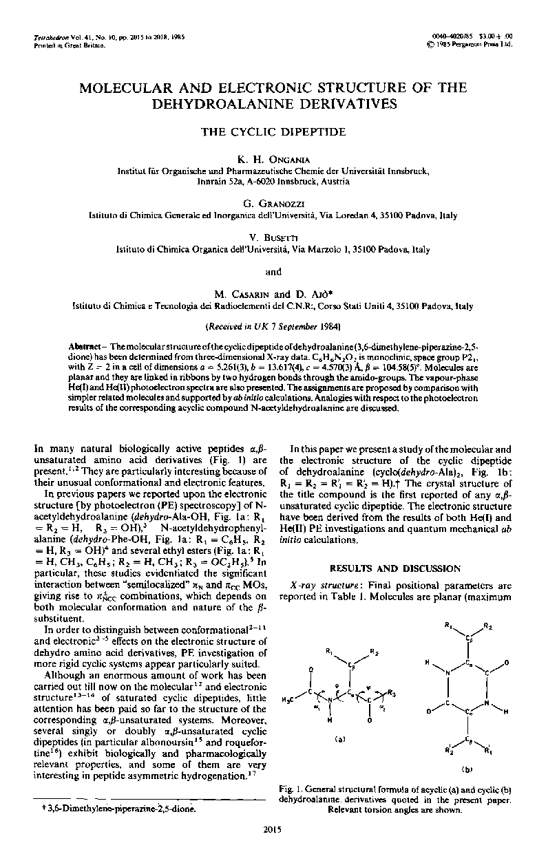 Molecular and electronic structure of the dehydroalanine derivatives