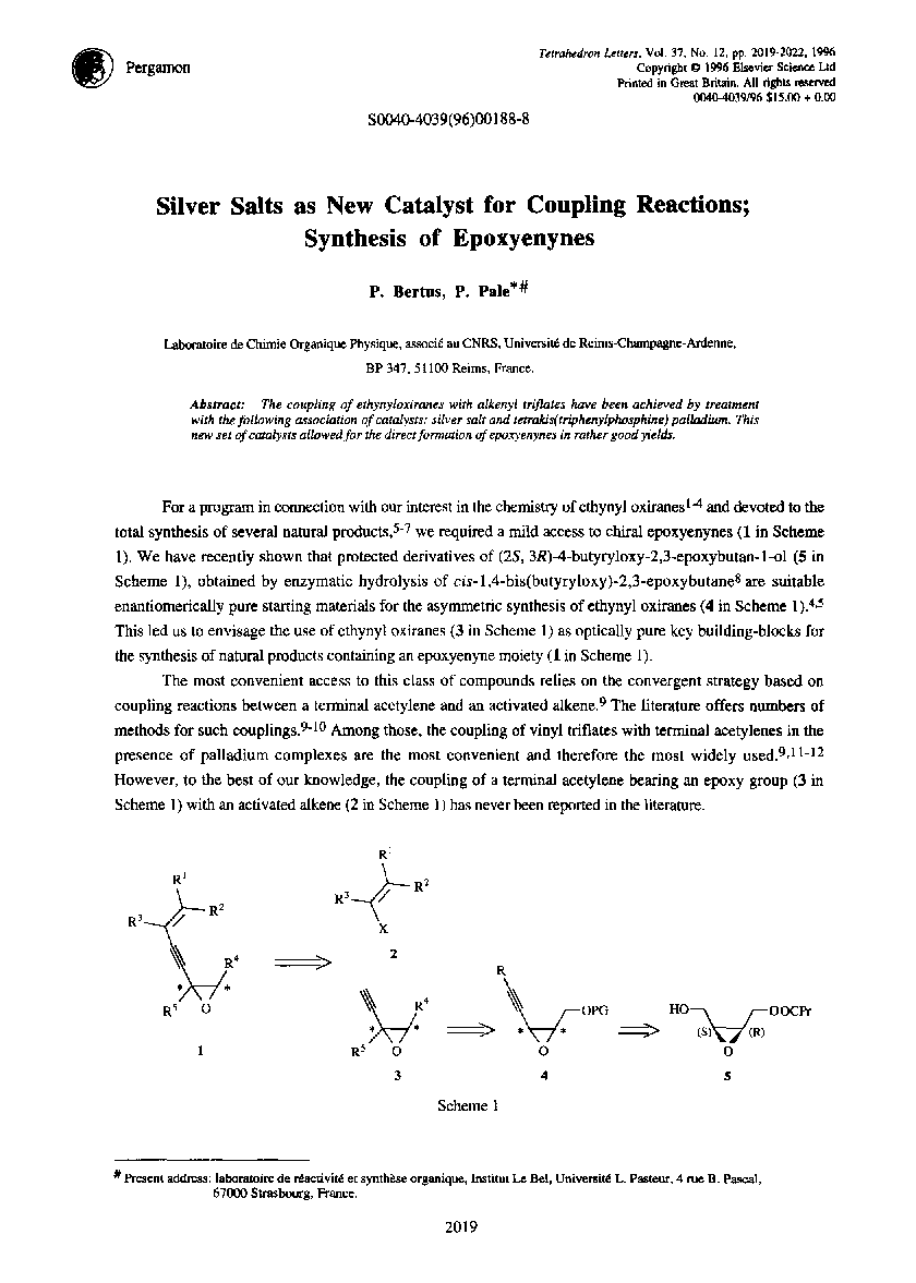 Silver salts as new catalyst for coupling reactions; synthesis of epoxyenynes
