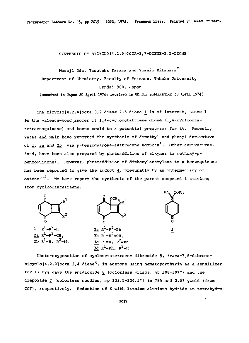Synthesis of bicyclo[4.2.0]octa-3,7-diene-2,5-dione
