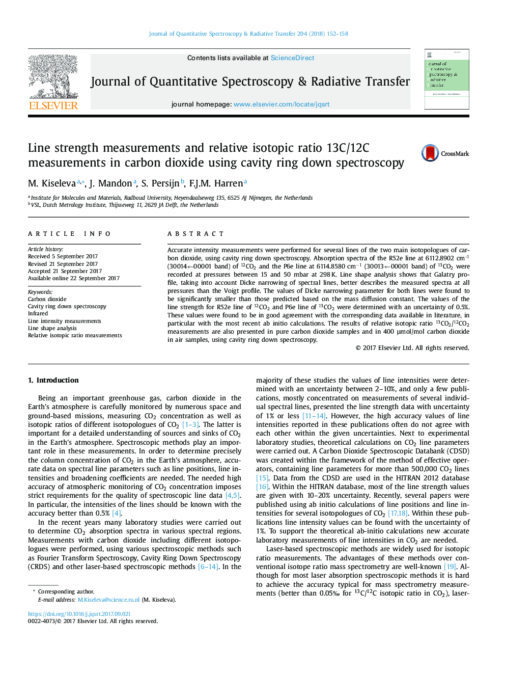 Line strength measurements and relative isotopic ratio 13C/12C measurements in carbon dioxide using cavity ring down spectroscopy